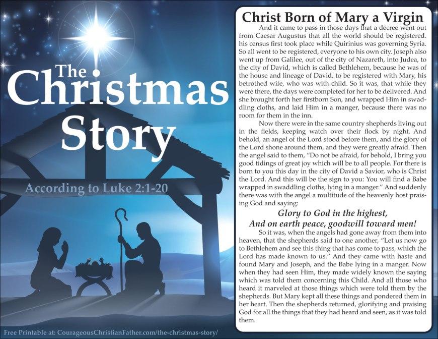 The Christmas Story Luke 2:1-20 Christmas Story Printable Luke 2 Printable