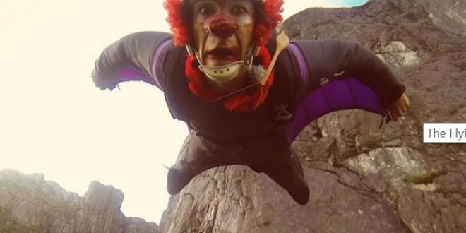 clown base jump flying frenchies back to the fjords