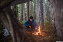 Bivouac dans la forêt à l'abri du couvert d'arbre et du tarp