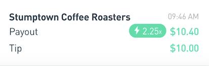 Postmates Stumptown Coffee Tips