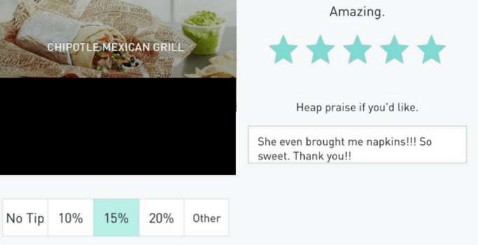 Postmates in-app tipping