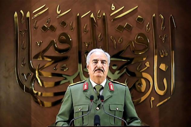 Capture d'écran d'une vidéo de la cellule de communication de Khalifa Haftar, dans laquelle le maréchal déclare bénéficier d'un mandat populaire pour diriger le pays, le 28 avril 2020.  PHOTO / LNA War Information Division / AFP