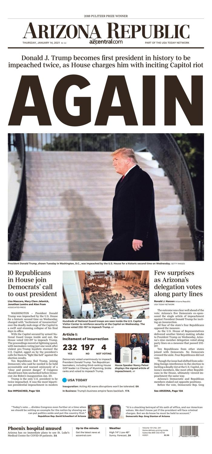 """""""Again."""" With this single word published across the width of its cover, the Arizona Republic recalls that Donald Trump had already been indicted in December 2019."""