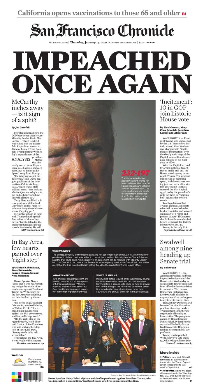 """""""Indictment Again,"""" headlines the San Francisco Chronicle.  The daily dwells on the balancing act of Californian Kevin McCarthy. The leader of the Republicans in the House of Representatives has indeed voted against impeachment while underlining Trump's responsibility in the riots on Capitol Hill."""
