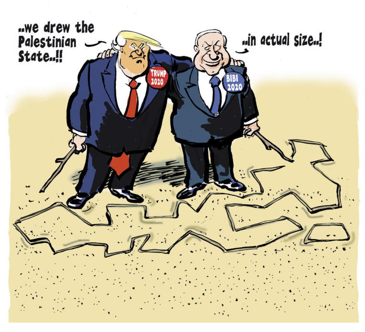 """Donald Trump: """"Nous avons dessiné l'État palestinien…"""" Benyamin Nétanyahou: """"… grandeur nature!"""" Dessin de Tom paru dans Trouw, Amsterdam"""