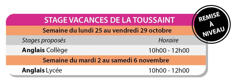 Stages Toussaint cours collectifs Compiègne
