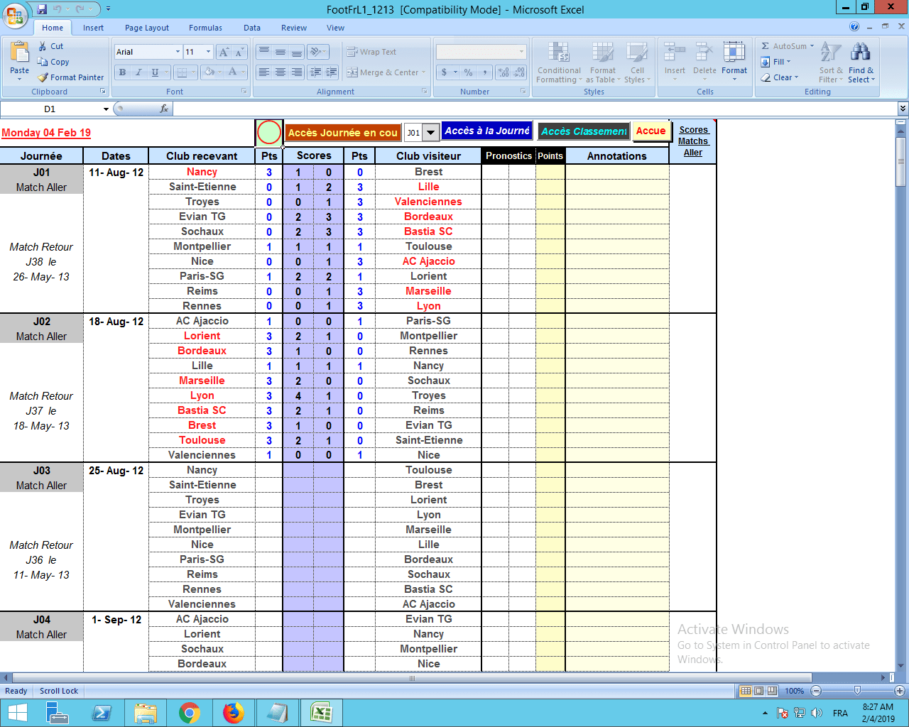 Xls Application Excel De Gestion De Tournoi Des Matches