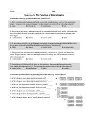 Biomolecules Structure And Function Worksheet C