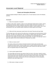 Oceans And Atmosphere Worksheet