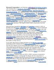 microsoft history.pdf - Microsoft Corporation is an ...
