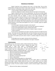 Biology Biomoleculereviewworksheet