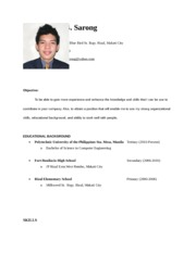 sample objectives in resume for ojt it students resume