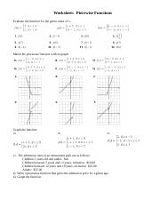 Ws Piecewise Functions Doc Worksheet Piecewise Functions