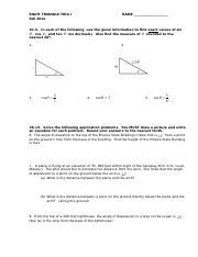 Applications For Trig Worksheet
