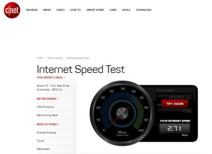 قياس سرعة النت من خلال cnet
