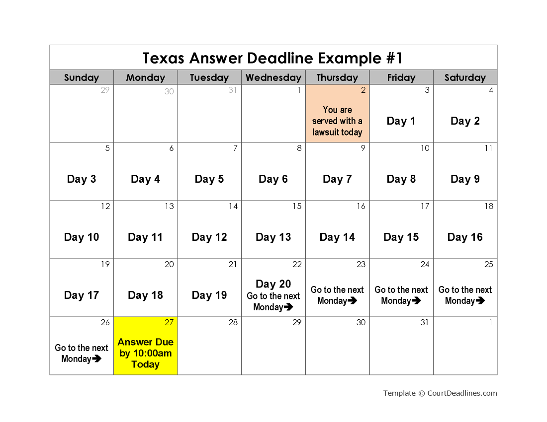 Texas Answer Deadline Example 1