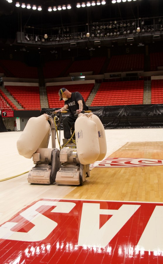 Washington State University - Basketball Court Floor Sanding & Refinishing by COURTSPORTS.  Portland, Oregon.  Seattle, Washington.  Spokane, Washington.  Eugene, Oregon.