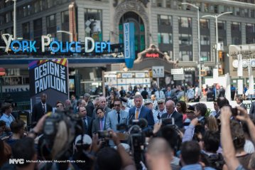 New York City Mayor Bill de Blasio issued a statement in Times Square on May 18, 2017, after an Honda struck pedestrians in Times Square, killing one and injuring 23 others. (Photo by Michael Appleton with the Mayoral Photo Office via Courthouse News)