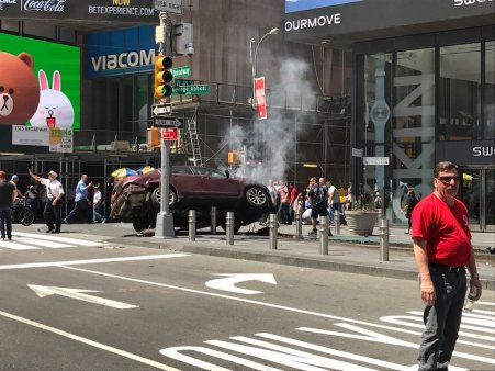 Images of the scene at Times Square flooded social media on May 18, 2017, after a red Honda drove into pedestrians.