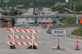 Highway 141 is closed on Monday, May 1, 2017, at Interstate 44 in Valley Park as the water continues to rise and flood the intersection from the nearby Meramec River. Photo by J.B. Forbes, jforbes@post-dispatch.co