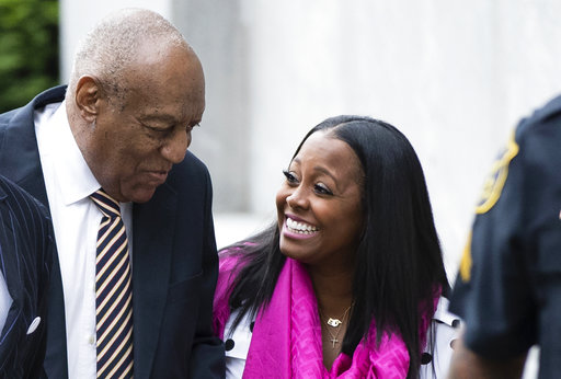 """Bill Cosby arrives for his sexual assault trial with actress Keshia Knight Pulliam, right, at the Montgomery County Courthouse in Norristown, Pa., Monday, June 5, 2017. Pulliam played Cosby's youngest daughter, Rudy Huxtable, on """"The Cosby Show."""" (AP Photo/Matt Rourke)"""