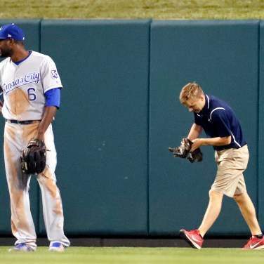 Kansas City Royals center fielder Lorenzo Cain waits as a member of the Busch Stadium grounds crew removes a cat that wandered onto the field during the sixth inning of the Royals baseball game against the St. Louis Cardinals on Aug. 9, 2017, in St. Louis. (AP Photo/Jeff Roberson)