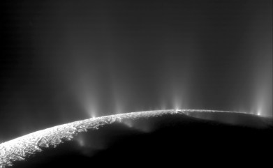 A dramatic plume sprays water ice and vapor from the south polar region of Saturn's moon Enceladus. Cassini's first hint of this plume came during the spacecraft's first close flyby of the icy moon on February 17, 2005. Credits: NASA/JPL/Space Science Institute