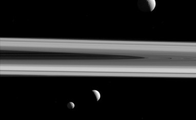 Three of Saturn's moons -- Tethys, Enceladus and Mimas -- are captured in this group photo from NASA's Cassini spacecraft. Tethys (660 miles or 1,062 kilometers across) appears above the rings, while Enceladus (313 miles or 504 kilometers across) sits just below center. Mimas (246 miles or 396 kilometers across) hangs below and to the left of Enceladus. This view looks toward the sunlit side of the rings from about 0.4 degrees above the ring plane. The image was taken in visible light with the Cassini spacecraft narrow-angle camera on Dec. 3, 2015. The view was acquired at a distance of approximately 837,000 miles (1.35 million kilometers) from Enceladus, with an image scale of 5 miles (8 kilometers) per pixel. Tethys was approximately 1.2 million miles (1.9 million kilometers) away with an image scale of 7 miles (11 kilometers) per pixel. Mimas was approximately 1.1 million miles (1.7 million kilometers) away with an image scale of 6 miles (10 kilometers) per pixel. The Cassini mission is a cooperative project of NASA, ESA (the European Space Agency) and the Italian Space Agency. The Jet Propulsion Laboratory, a division of the California Institute of Technology in Pasadena, manages the mission for NASA's Science Mission Directorate, Washington. The Cassini orbiter and its two onboard cameras were designed, developed and assembled at JPL. The imaging operations center is based at the Space Science Institute in Boulder, Colorado. For more information about the Cassini-Huygens mission visit http://saturn.jpl.nasa.gov and http://www.nasa.gov/cassini . The Cassini imaging team homepage is at http://ciclops.org . Image Credit: NASA/JPL-Caltech/Space Science Institute