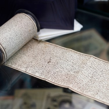 """The original manuscript of """"The 120 Days of Sodom, or the School of Libertinage,"""" a scandalous and pornographic novel written by French writer Marquis de Sade while jailed in the Bastille prison is displayed prior to the auction of the Aristophil Collections, in Neuilly-sur-Seine, west of Paris, on Nov. 14, 2017. Thousands of French private investors, victims of an alleged pyramid scheme, hope to get some of their stake back when a huge collection of rare and valuable manuscripts begin to be auctioned in Paris next month by court order. (AP Photo/Thibault Camus)"""