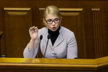 Ukrainian opposition leader Yulia Tymoshenko gestures during a parliament session in Kiev, Ukraine, on Nov. 26, 2018. (AP Photo/Efrem Lukatsky)