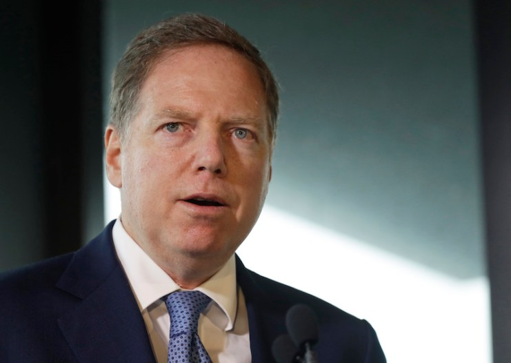 Geoffrey Berman, U.S. attorney for the Southern District of New York, speaks at the Museum of Jewish Heritage in New York on Sept. 12, 2018. (AP Photo/Mark Lennihan, File)