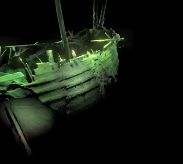 A scan of a remarkable preserved shipwreck found at the bottom of the Baltic Sea. (MMT)