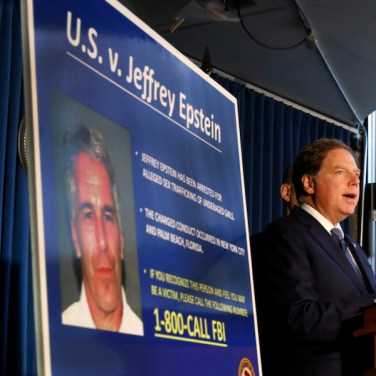United States Attorney for the Southern District of New York Geoffrey Berman speaks during a news conference, in New York, Monday, July 8, 2019. Federal prosecutors announced sex trafficking and conspiracy charges against wealthy financier Jeffrey Epstein. Court documents unsealed Monday show Epstein is charged with creating and maintaining a network that allowed him to sexually exploit and abuse dozens of underage girls.(AP Photo/Richard Drew)