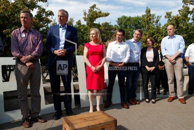 2020 Democratic hopefuls stand together before the Iowa Democratic Wing Ding at the Surf Ballroom, Friday, Aug. 9, 2019, in Clear Lake, Iowa. (AP Photo/John Locher)