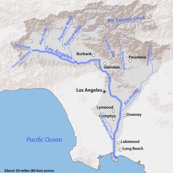 The Los Angeles River watershed. (U.S. Geological Survey via Wikipedia)