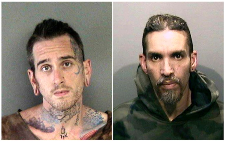 These June 2017 booking photos show Max Harris, left, and Derick Almena at Santa Rita Jail in Alameda County, Calif. The pair faced a three-month trial on involuntary manslaughter charges over a San Francisco Bay Area warehouse fire that trapped 36 partygoers. (Alameda County Sheriff's Office via AP, File)