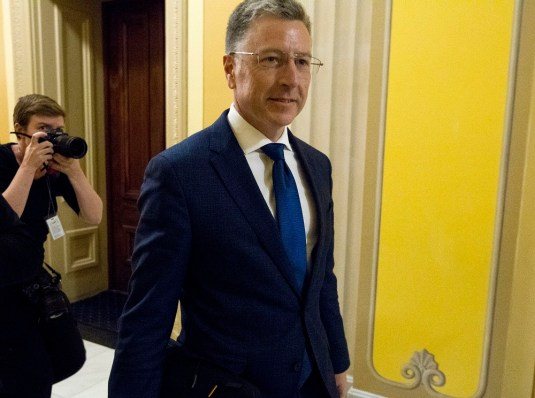 Kurt Volker, a former special envoy to Ukraine, is leaving after a closed-door interview with House investigators as House Democrats proceed with the impeachment investigation of President Donald Trump, at the Capitol in Washington on Oct. 3, 2019. (AP Photo/Jose Luis Magana)