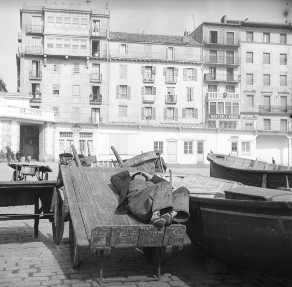 Sleeping fisherman, San Sebastian, circa 1960, Europe Collection.