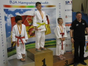 Aaron on the medal podium