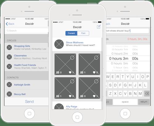 Decidr Wireframes iPhone
