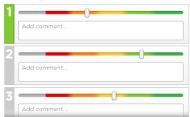 Color coded slider to enter rating.