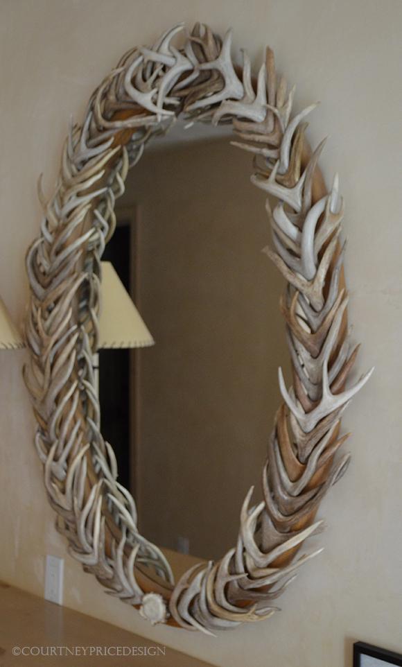 antler mirror, ski house, mountain home