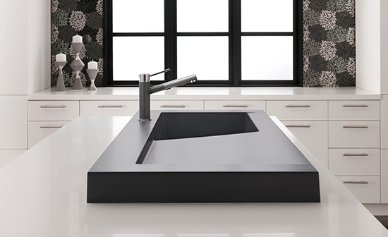 cool kitchen, anti microbial kitchen surface, sloping sink for drainage