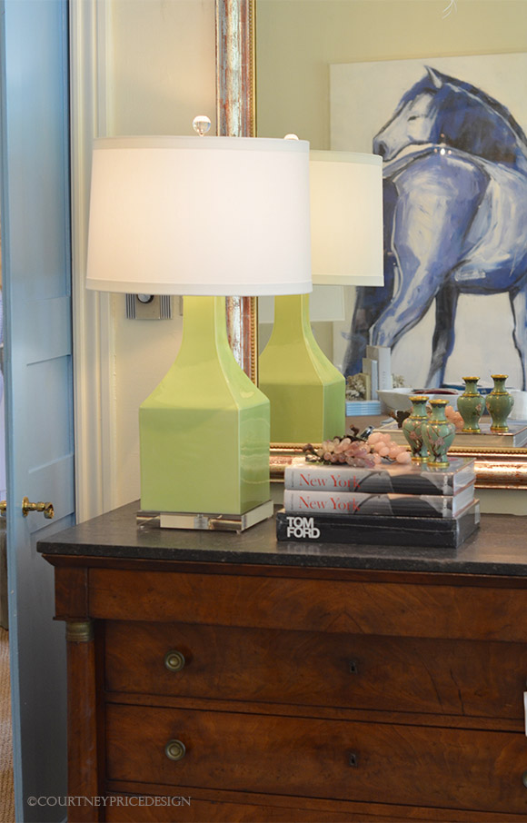 Blue Print, blue horse, horse painting, green lamp, contemporary design, interior design, antique chest, antique and modern- as seen on www.CourtneyPrice.com