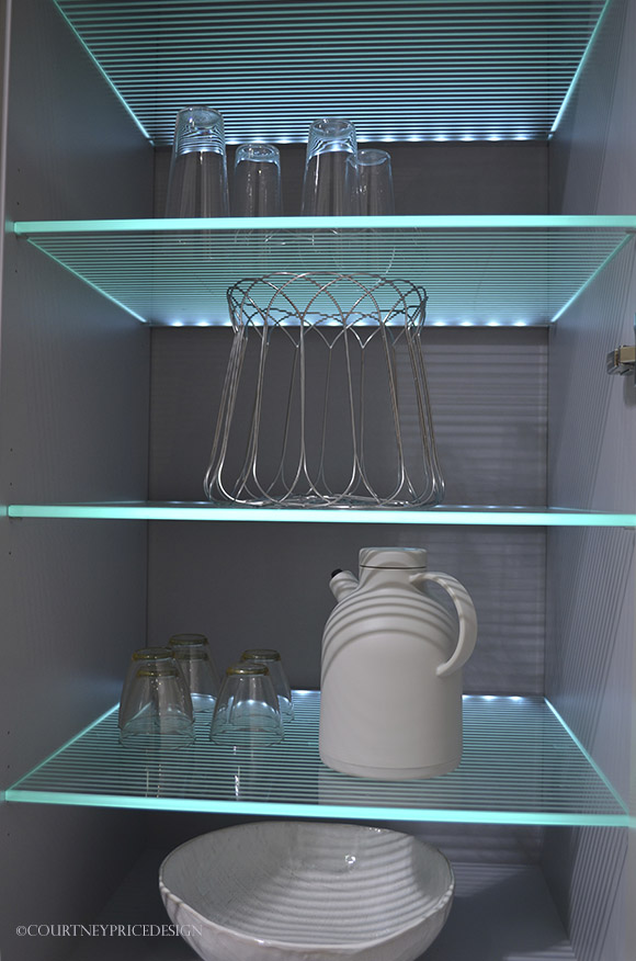 LED lit cabinet Shelves on www.CourtneyPrice.com