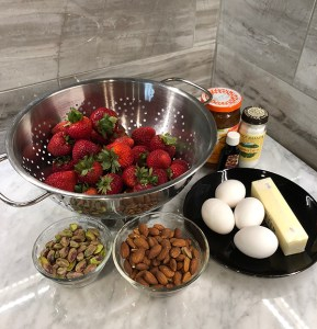 Ingredients for a decadent strawberry dessert