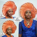 orange color Gele Styles
