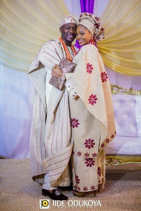 Milk color and purple Yoruba traditional wedding attire image