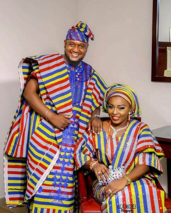 Aso oke Yoruba traditional wedding attire image