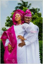 white and red Yoruba traditional wedding attire image